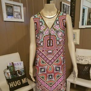 MSK - fab shift zip front dress